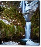 Multnomah Falls With Snow Acrylic Print