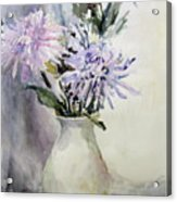 Mums In White Pitcher Acrylic Print by Dorothy Herron