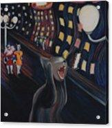 Munch's Cat--the Scream Acrylic Print by Eve Riser Roberts