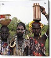 Mursi Tribesmen In Ethiopia Acrylic Print