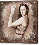 Muscle And Strength Pinup Poster Girl Acrylic Print