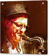 Music - Jazz Sax Player With A Hat Acrylic Print