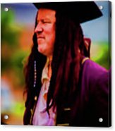 Musician In Pirate Hat And Dreadlocks - In Watercolor Photo Acrylic Print