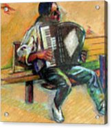 Musician With Accordion Acrylic Print