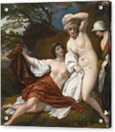 Musidora And Her Two Companions Sacharissa And Amoret At Their Bath Espied By Damon Acrylic Print