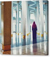 Muslim Woman Dressed In The Traditional Islam Clothing Standing Inside National Mosque In Malaysia Acrylic Print