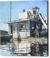 Mussel Harvest On Penn Cove Acrylic Print by Perry Woodfin
