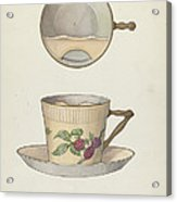 Mustache Cup And Saucer Acrylic Print