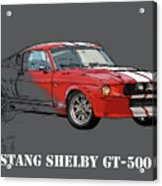 Mustang Shelby Gt500 Red, Handmade Drawing, Original Classic Car For Man Cave Decoration Acrylic Print