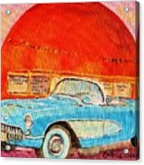 My Blue Corvette at the Orange Julep Acrylic Print