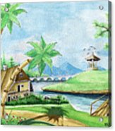 My First Landscape Watercolor Painting At The Age Of 18 Acrylic Print