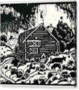 My Wyoming Cabin In Winter Acrylic Print
