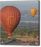 Myanmar. Bagan. Hot Air Balloons. In The Air. Acrylic Print