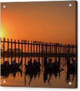 Myanmar. Taungthaman Lake. U Bein Bridge. Sunset. Acrylic Print