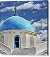 Mykonos Blue Church Dome Acrylic Print