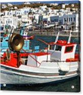 Mykonos Greece Fishing Boats Acrylic Print
