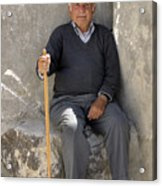 Mykonos Man With Walking Stick Acrylic Print