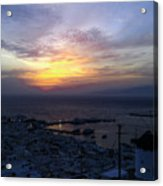 Mykonos Sunset Greece Acrylic Print