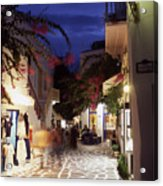 Mykonos Town At Night Acrylic Print