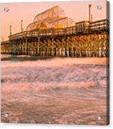 Myrtle Beach Apache Pier At Sunset Panorama Acrylic Print