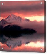 Mystic Sunset With Mountain Reflection And Lake Acrylic Print