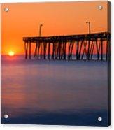 Nags Head Fishing Pier Sunrise Panorama Acrylic Print