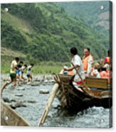 Naked Tracker Boatman Pulling Tourists Acrylic Print