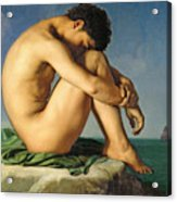 Naked Young Man Sitting By The Sea, 1836 Acrylic Print