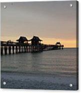 Naples Pier - Golden Hour At The Pier Acrylic Print