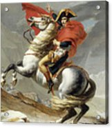 Napoleon Crossing The Alps, Jacques Louis David, From The Original Version Of This Painting  Acrylic Print