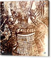 Illuminated Narasimha Dev In Sepia Acrylic Print