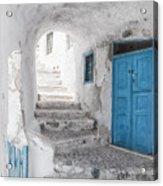 Narrow Alley And Stairway On Santorini Acrylic Print