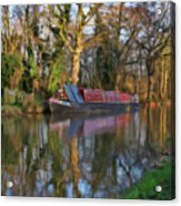 Narrow Boat On Wey Navigation - P4a16008 Acrylic Print