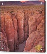 Narrow Canyon And Volcan Licancabur, Atacama Desert, Chile At Su Acrylic Print