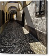 Narrow Cobblestone Alley Ribji Trg Or Fish Square From Cankar Qu Acrylic Print