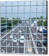 Narrow Depth Of Field Looking Down From Railing Onto Busy Highway Acrylic Print