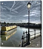 Narrowboat Idly Dan At Barton Marina On Acrylic Print