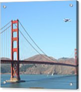 Nasa Space Shuttle's Final Hurrah Over The San Francisco Golden Gate Bridge Acrylic Print by Wingsdomain Art and Photography