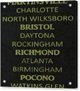Nascar Track List Acrylic Print