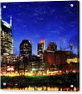 Nashville At Twilight Acrylic Print by Dean Wittle