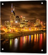 Nashville City Lights Acrylic Print by Stuart Deacon