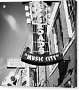 nashville crossroads music city ernest tubbs record shop on broadway downtown Nashville Tennessee US Acrylic Print