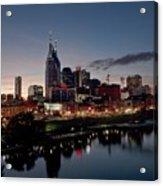 Nashville Skyline And The Cumberland Acrylic Print by Everett