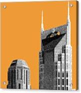 Nashville Skyline At And T Batman Building - Orange Acrylic Print