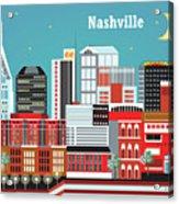 Nashville Tennessee Horizontal Skyline Acrylic Print