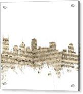 Nashville Tennessee Skyline Sheet Music Acrylic Print