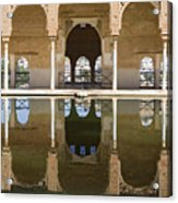 Nasrid Palace Arches Reflection At The Alhambra Granada Acrylic Print