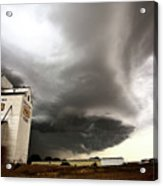 Nasty Looking Cumulonimbus Cloud Behind Grain Elevator Acrylic Print