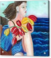 Natasha By The Sea Acrylic Print by Pilar  Martinez-Byrne