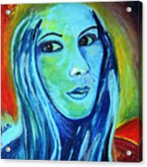 Natasha In Blue Acrylic Print by Pilar  Martinez-Byrne